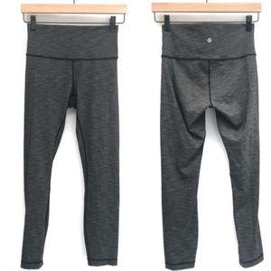Lululemon gray/black capri leggings. Size 8